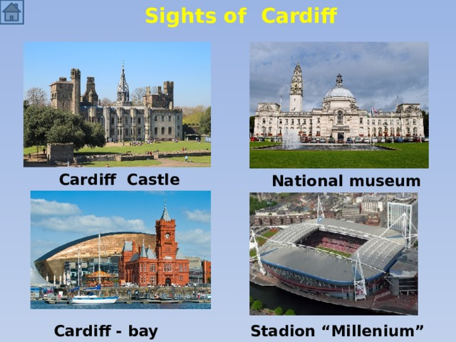 """Sights of Cardiff Cardiff Castle National museum Cardiff - bay Stadion """"Millenium"""""""