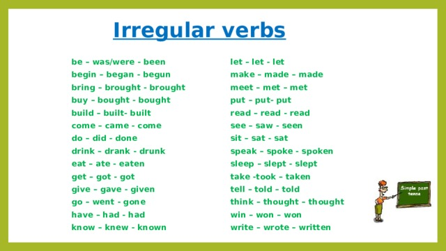 Irregular verbs be – was/were - been let – let - let make – made – made begin – began - begun bring – brought - brought meet – met – met buy – bought - bought put – put- put build – built- built read – read - read come – came - come see – saw - seen do – did - done sit – sat - sat drink – drank - drunk speak – spoke - spoken sleep – slept - slept eat – ate - eaten take -took – taken get – got - got tell – told – told give – gave - given think – thought – thought go – went - gone win – won – won have – had - had write – wrote – written know – knew - known
