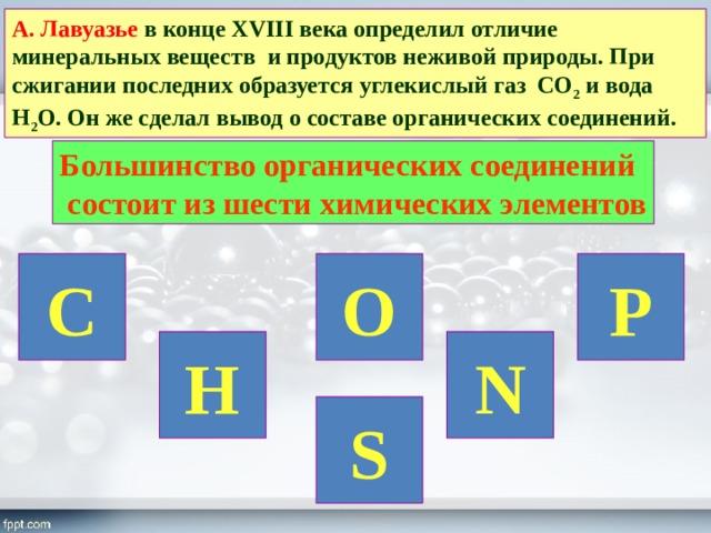 А. Лавуазье в конце XVIII века определил отличие минеральных веществ и продуктов неживой природы. При сжигании последних образуется углекислый газ СО 2 и вода Н 2 О. Он же сделал вывод о составе органических соединений. Большинство органических соединений  состоит из шести химических элементов C O P H N S