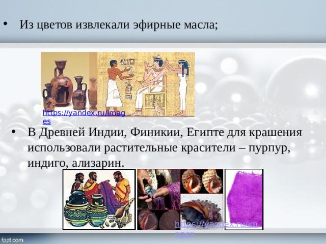Из цветов извлекали эфирные масла; В Древней Индии, Финикии, Египте для крашения использовали растительные красители – пурпур, индиго, ализарин.