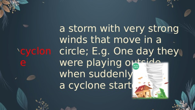 cyclone   a storm with very strong winds that move in a circle; E.g. One day they were playing outside when suddenly a cyclone started.