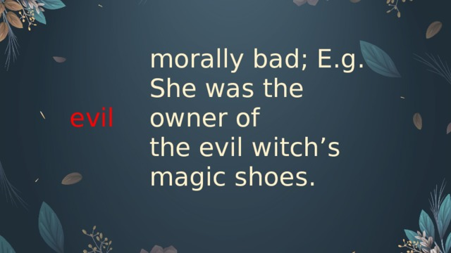 evil  morally bad; E.g. She was the owner of the evil witch's magic shoes.