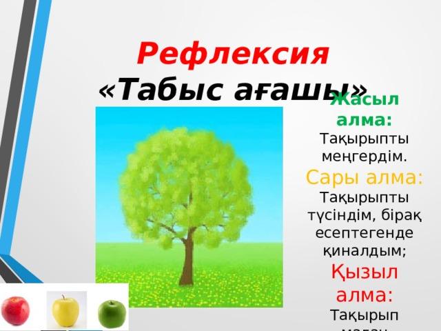Рефлексия  «Табыс ағашы» Жасыл алма: Тақырыпты меңгердім. Сары алма: Тақырыпты түсіндім, бірақ есептегенде қиналдым; Қызыл алма: Тақырып маған түсініксіз болды.