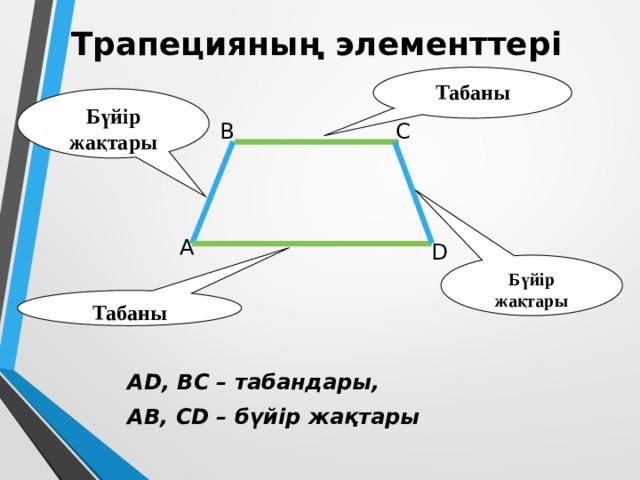 Трапецияның элементтері Табаны Бүйір жақтары B C А D Бүйір жақтары Табаны AD, BC – табандары, AB, CD – бүйір жақтары