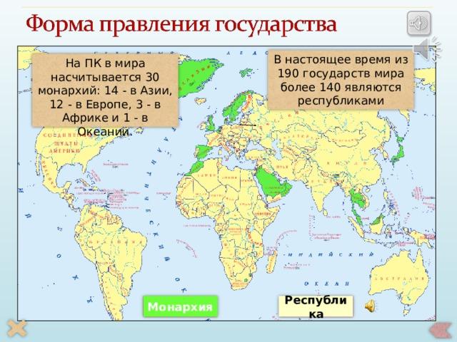 В настоящее время из 190государств мира более 140 являются республиками На ПК в мира насчитывается 30 монархий: 14 - в Азии, 12 - в Европе, 3 - в Африке и 1 - в Океании. По щелчку на соответствующую форму правления появляется текстовое и звуковое сопровождение, второй щелчок – количество данных форм правления в мире, третий щелчок скрывает информацию Республика Монархия 26