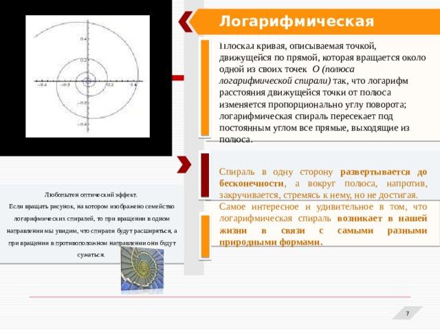 Логарифмическая спираль Плоская кривая, описываемая точкой, движущейся по прямой, которая вращается около одной из своих точек О (полюса логарифмической спирали) так, что логарифм расстояния движущейся точки от полюса изменяется пропорционально углу поворота; логарифмическая спираль пересекает под постоянным углом все прямые, выходящие из полюса.  Спираль в одну сторону развертывается до бесконечности , а вокруг полюса, напротив, закручивается, стремясь к нему, но не достигая. Самое интересное и удивительное в том, что логарифмическая спираль возникает в нашей жизни в связи с самыми разными природными формами. Любопытен оптический эффект. Если вращать рисунок, на котором изображено семейство логарифмических спиралей, то при вращении в одном направлении мы увидим, что спирали будут расширяться, а при вращении в противоположном направлении они будут сужаться. 1 1