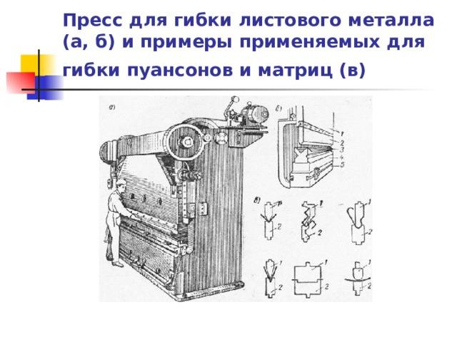 Пресс для гибки листового металла (а, б) и примеры применяемых для гибки пуансонов и матриц (в)
