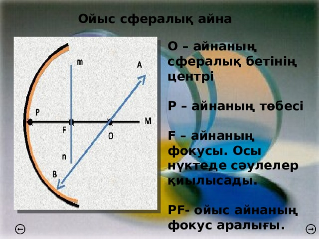 Ойыс сфералық айна О – айнаның сфералық бетінің центрі  Р – айнаның төбесі  F – айнаның фокусы. Осы нүктеде сәулелер қиылысады.  PF- ойыс айнаның фокус аралығы.