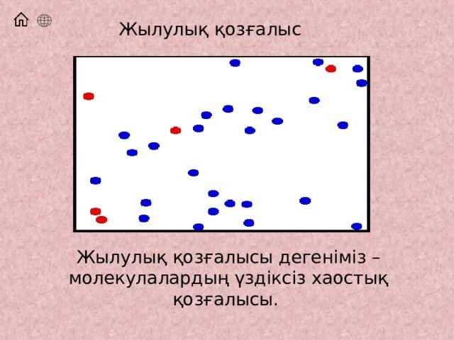 Жылулық қозғалыс Жылулық қозғалысы дегеніміз – молекулалардың үздіксіз хаостық қозғалысы.
