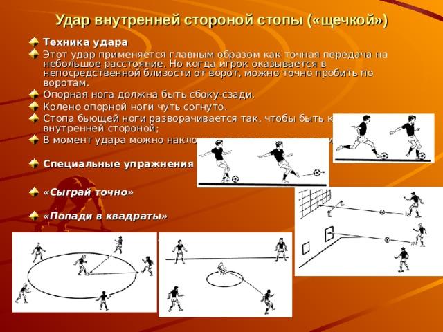 Удар внутренней стороной стопы («щечкой»)   Техника удара Этот удар применяется главным образом как точная передача на небольшое расстояние. Но когда игрок оказывается в непосредственной близости от ворот, можно точно пробить по воротам. Опорная нога должна быть сбоку-сзади. Колено опорной ноги чуть согнуто. Стопа бьющей ноги разворачивается так, чтобы быть к мячу внутренней стороной; В момент удара можно наклонить туловище над мячом.  Специальные упражнения  «Сыграй точно»  «Попади в квадраты»