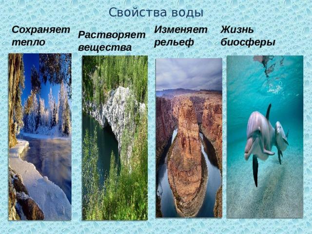 Свойства воды Сохраняет тепло Изменяет рельеф Жизнь биосферы Растворяет вещества
