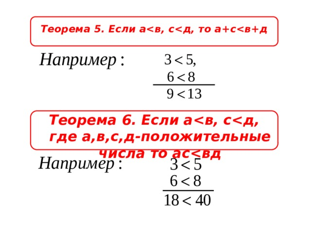 Теорема 5. Если а Теорема 6. Если а