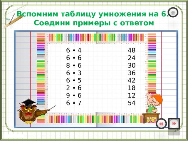 Вспомним таблицу умножения на 6.  Соедини примеры с ответом    6 • 4 48  6 • 6 24  8 • 6 30  6 • 3 36  6 • 5 42  2 • 6 18  9 • 6 12  6 • 7 54