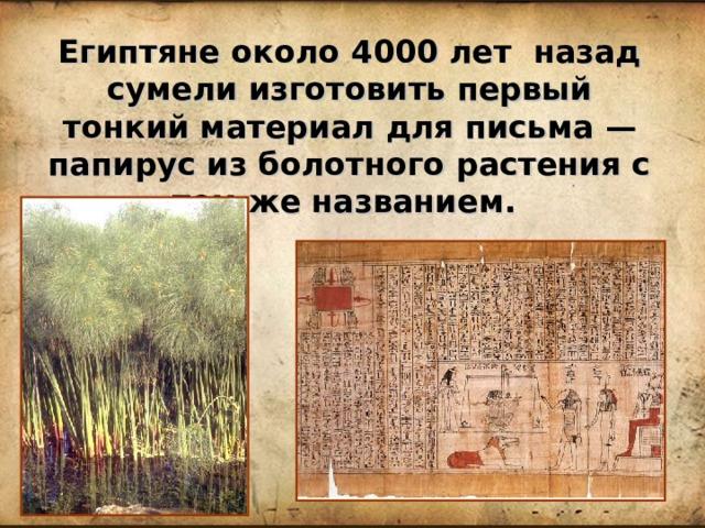 Египтяне около 4000 лет назад сумели изготовить первый тонкий материал для письма — папирус из болотного растения с тем же названием.