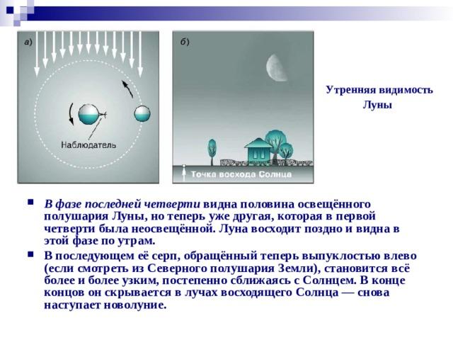 Утренняя видимость  Луны