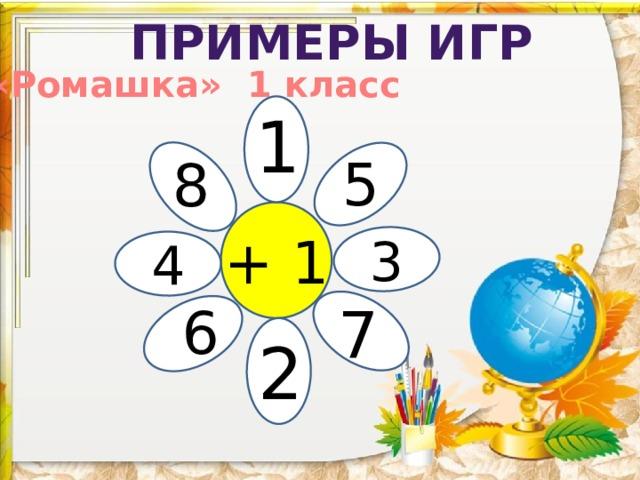 Примеры игр «Ромашка» 1 класс 1 5 8 + 1 3 4 7 6 2