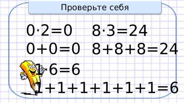 Проверьте себя 0·2=0 0+0=0 8·3=24 8+8+8=24 1·6=6 1+1+1+1+1+1=6