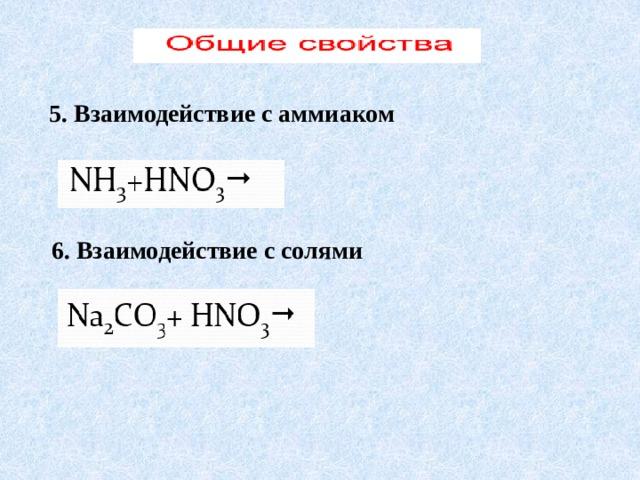 5. Взаимодействие с аммиаком 6. Взаимодействие с солями