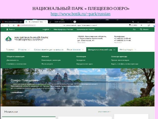 НАЦИОНАЛЬНЫЙ ПАРК « ПЛЕЩЕЕВО ОЗЕРО» http://www.botik.ru/~park/russian