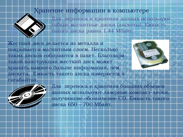 Хранение информации в компьютере Для переноса и хранения данных используют гибкие магнитные диски (дискеты). Емкость такого диска равна 1,44 Мбайт. Жесткий диск делается из металла и покрывается магнитным слоем. Несколько таких дисков собираются в пакет. Благодаря такой конструкции жесткий диск может хранить намного больше информации, чем дискета. Емкость такого диска измеряется в гигабайтах. Для переноса и хранения больших объемов данных используют лазерные компакт-диски, получившие обозначение CD. Емкость такого диска 650 – 700 Мбайт.