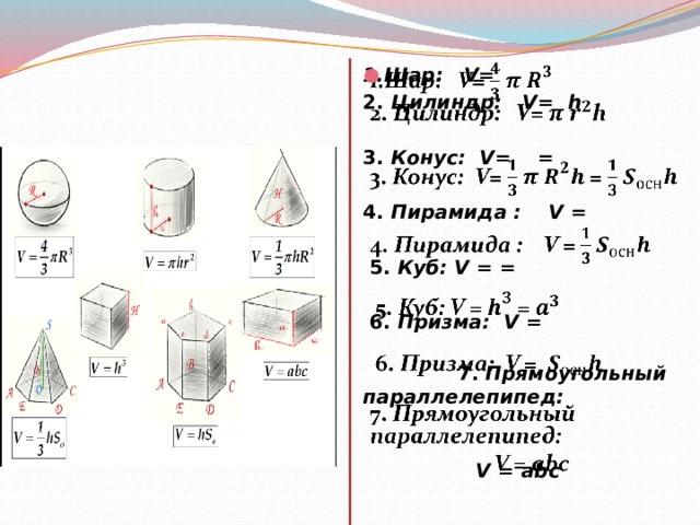 1.Шар: V=  2. Цилиндр: V= h 3. Конус: V= =    4. Пирамида : V =  5. Куб: V = =  6. Призма:  V =  7. Прямоугольный параллелепипед:  V = abc