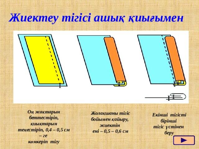 Жиектеу тігісі ашық қиығымен Оң жақтарын беттестіріп, қиықтарын теңестіріп, 0,4 – 0,5 см – ге көмкеріп тігу Жолақшаны тігіс бойымен қайыру, жиектін ені – 0,5 – 0,6 см Екінші тігісті бірінші тігіс үстінен беру