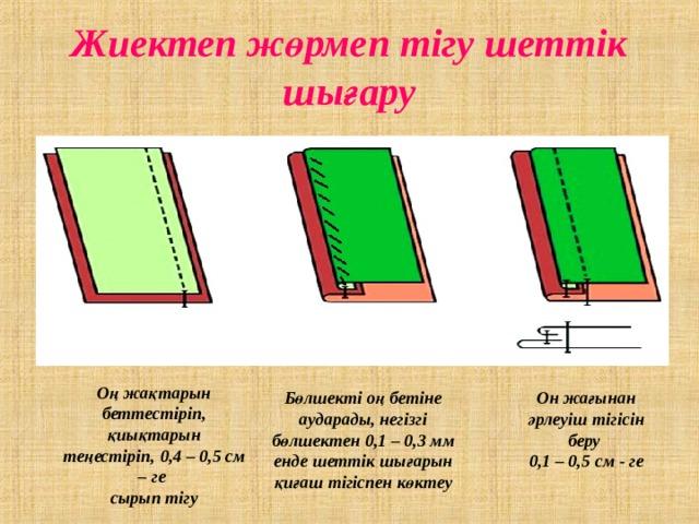 Жиектеп жөрмеп тігу шеттік шығару Оң жақтарын беттестіріп, қиықтарын теңестіріп, 0,4 – 0,5 см – ге сырып тігу Бөлшекті оң бетіне аударады, негізгі бөлшектен 0,1 – 0,3 мм енде шеттік шығарын қиғаш тігіспен көктеу Он жағынан әрлеуіш тігісін беру 0,1 – 0,5 см - ге