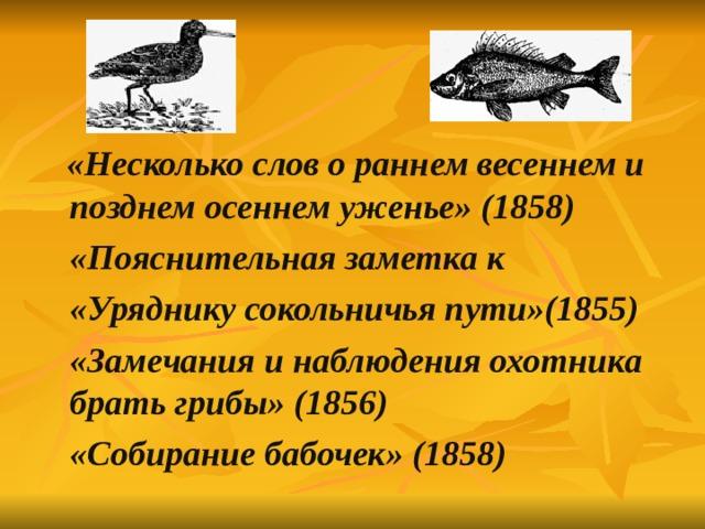«Несколько слов о раннем весеннем и позднем осеннем уженье» (1858)  «Пояснительная заметка к  «Уряднику сокольничья пути»(1855)  «Замечания и наблюдения охотника брать грибы» (1856)  «Собирание бабочек» (1858)