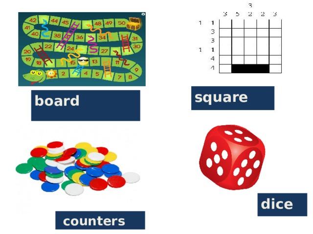 board square dice  counters