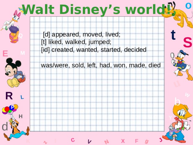 o Walt Disney's world! W C g J L u z V N t  [d] appeared, moved, lived; [t] liked, walked, jumped; [id] created, wanted, started, decided was/were, sold, left, had, won, made, died Q S E M R b P H Y d F x l K