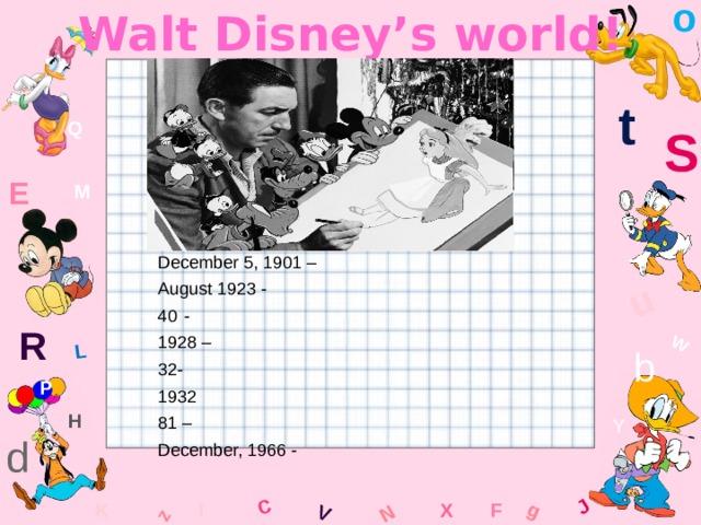 o Walt Disney's world! W C g J L u z V N t Q S E M December 5, 1901 – August 1923 - - 1928 – 32- 1932 81 – December, 1966 - R b P H Y d F K x l