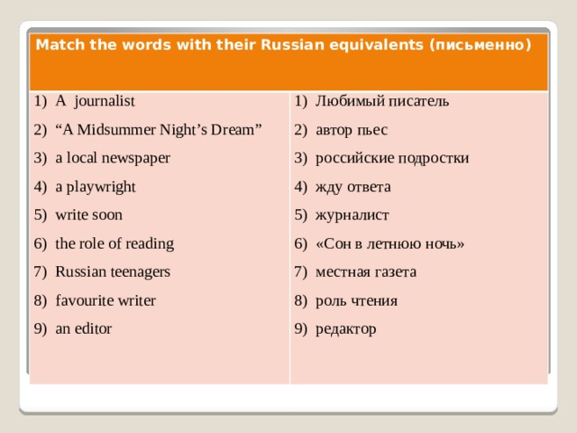 Match the words with their Russian equivalents (письменно)