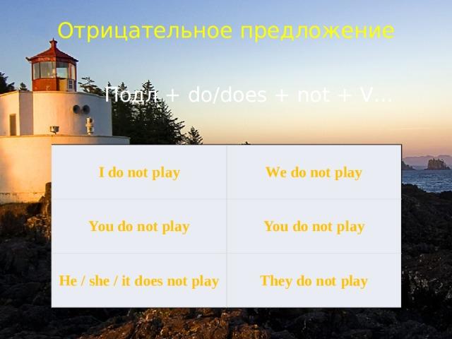 Отрицательное предложение    Подл + do/does + not + V… I do not play You do not play We do not play He / she / it does not play You do not play They do not play