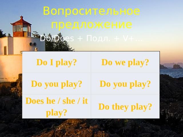 Вопросительное предложение Do/Does + Подл. + V+… Do I play? Do we play? Do you play? Do you play? Does he / she / it play? Do they play?
