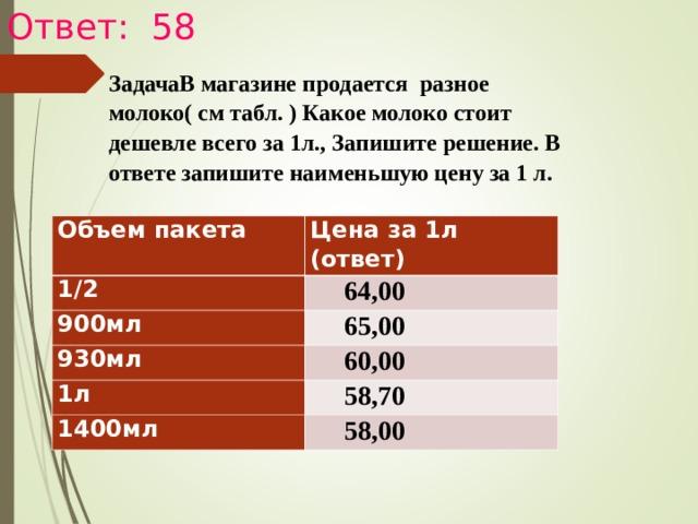 Ответ: 58 ЗадачаВ магазине продается разное молоко( см табл. ) Какое молоко стоит дешевле всего за 1л., Запишите решение. В ответе запишите наименьшую цену за 1 л.  Объем пакета Цена за 1л (ответ) 1/2  64,00 900мл  65,00 930мл  60,00 1л  58,70 1400мл  58,00