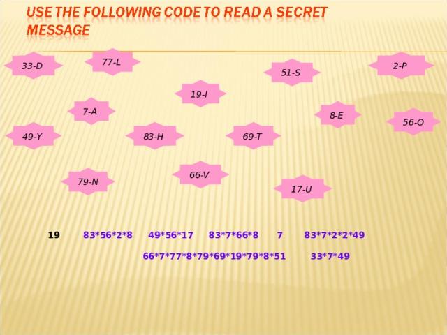 77-L  2-P  33- D 51-S  19-I  7-A  8-E  56-O 49- Y  83-H  69-T  66-V  79-N 17-U   83*56*2*8 4 9 *56*17 83*7*66*8  7 83*7*2*2*4 9    66*7*77*8*79*69*19*79*8*51 33*7*4 9