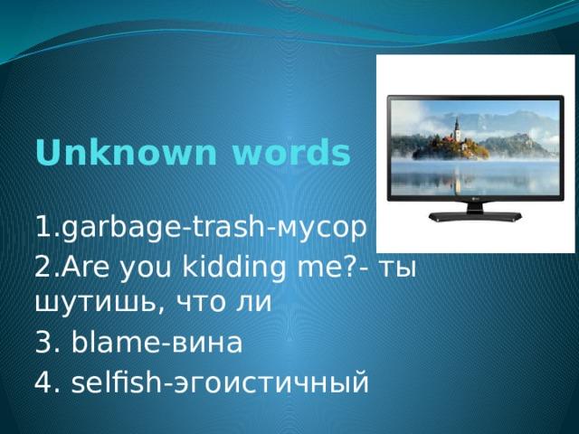 Unknown words   1.garbage-trash- мусор 2. Are you kidding me?- ты шутишь, что ли 3. blame- вина 4. selfish- эгоистичный