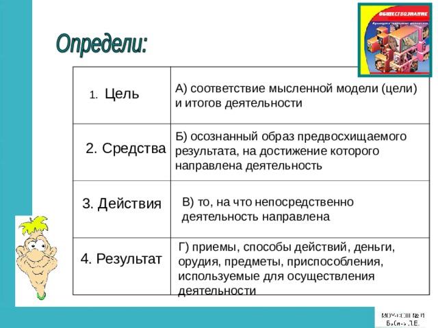 А) соответствие мысленной модели (цели) и итогов деятельности 1. Цель Б) осознанный образ предвосхищаемого результата, на достижение которого направлена деятельность 2. Средства 3. Действия В) то, на что непосредственно деятельность направлена Г) приемы, способы действий, деньги, орудия, предметы, приспособления, используемые для осуществления деятельности 4. Результат