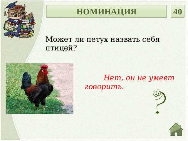 НОМИНАЦИЯ 40 Может ли петух назвать себя птицей?  Нет, он не умеет говорить.
