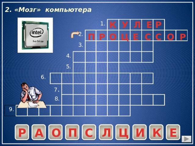 2. «Мозг» компьютера У К Р Е Л 2. 9. 6. 4. 3. 1. 5. 7 . 8. С П Ц Е Р С О Р О С Е К И Ц Л П О А Р