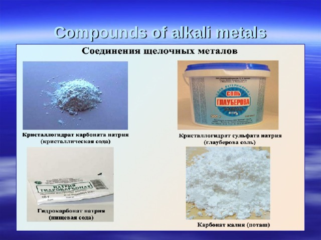 Compounds of alkali metals