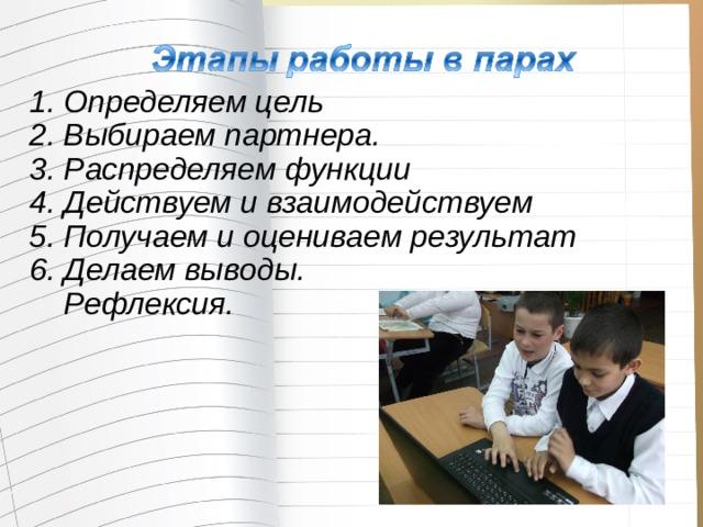 1. Определяем цель  2. Выбираем партнера.  3. Распределяем функции  4. Действуем и взаимодействуем  5. Получаем и оцениваем результат  6. Делаем выводы.  Рефлексия.