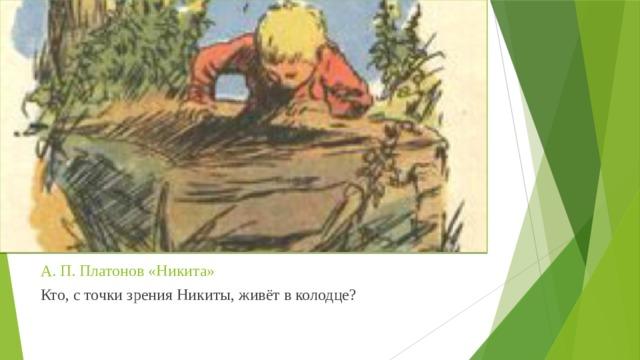 А. П. Платонов «Никита» Кто, с точки зрения Никиты, живёт в колодце?