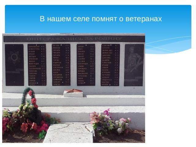 В нашем селе помнят о ветеранах
