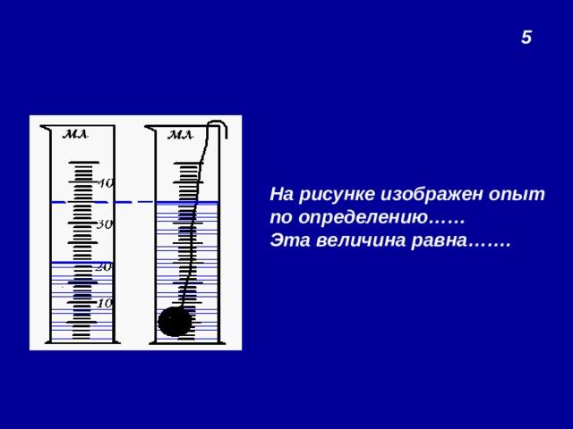 5 На рисунке изображен опыт по определению…… Эта величина равна…….