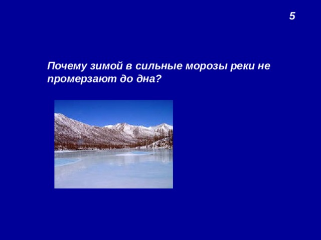 5 Почему зимой в сильные морозы реки не промерзают до дна?