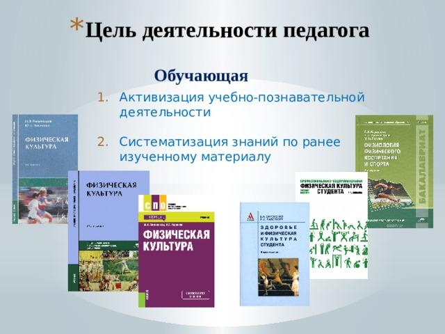 Цель деятельности педагога Обучающая Активизация учебно-познавательной деятельности Систематизация знаний по ранее изученному материалу