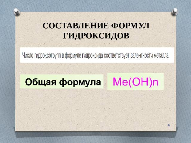 СОСТАВЛЕНИЕ ФОРМУЛ ГИДРОКСИДОВ