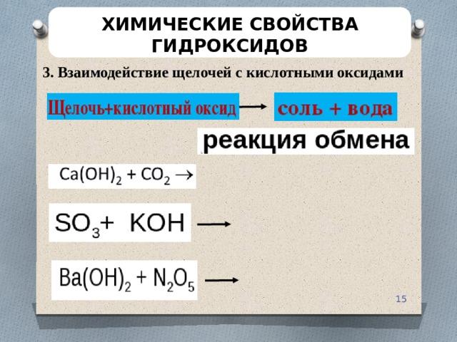 ХИМИЧЕСКИЕ СВОЙСТВА ГИДРОКСИДОВ 3. Взаимодействие щелочей с кислотными оксидами