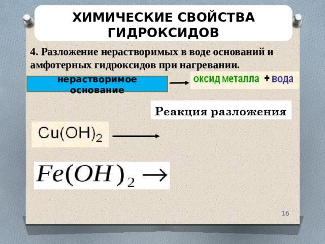 ХИМИЧЕСКИЕ СВОЙСТВА ГИДРОКСИДОВ 4. Разложение нерастворимых в воде оснований и амфотерных гидроксидов при нагревании. нерастворимое основание